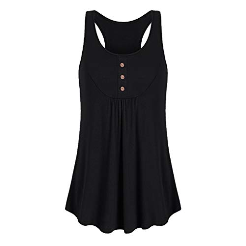 2' Round Button Earrings Jewelry - 【MOHOLL】 Womens Sleeveless Round Neck Yoga Shirt Activewear Workout Clothes Button Tank Top Black