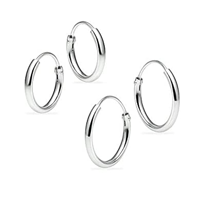 514eed6fa Amazon.com: Set of 2 Pair Sterling Silver 10mm & 12mm Tiny Small ...