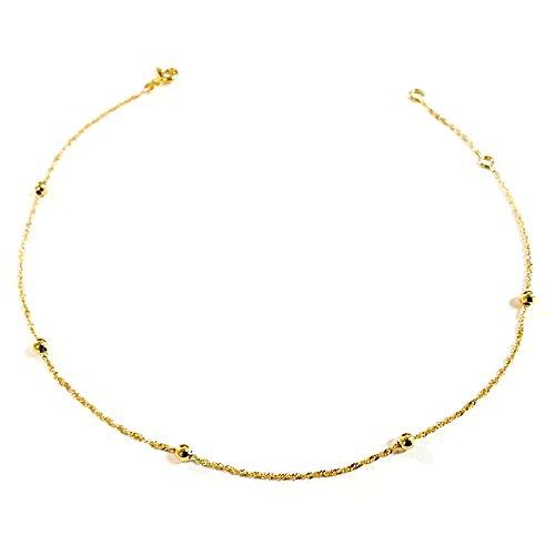 Fille - Femme Diamantly Chaine de cheville boules or 375//1000 9 Carats