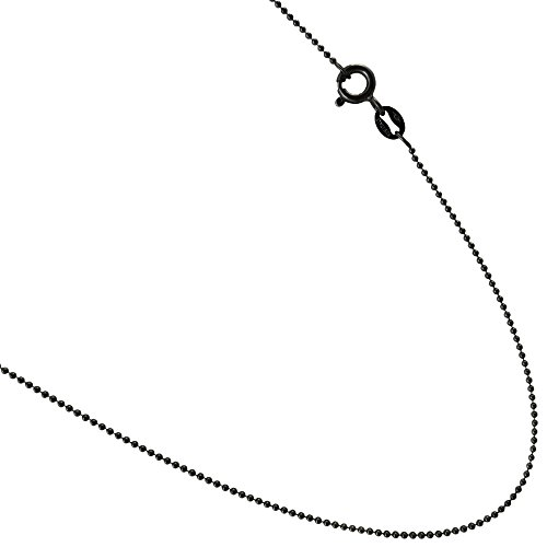 1mm Bead Chain. Black Rhodium Plated Over .925 Sterling Silver. 16,18,20,24,30,36 Inches (30)