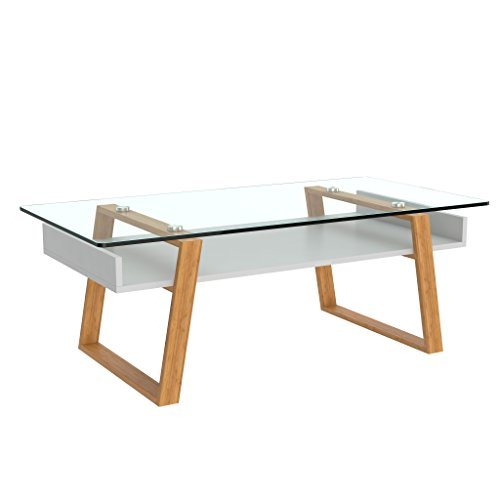bonVIVO Designer Coffee Table Donatella, Modern Coffee Table for Living Room, White Coffee Table, Coffee or Side Table with Natural Wood Frame and Glass Top, Coffee Tables