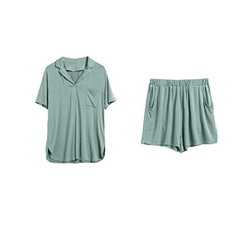 Corta De Moda Conjunto Pijama Laterales Bolsillos Juegos Taille Solapa Color Grün Boxershort Mujer Camisas Sólido 2 Manga Elastische gqw0Yg6a