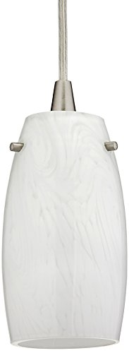 Elk 10223/1COC Favelita 1-Light Glass Mini Pendant with Coconut Shade, 3 by 6-Inch, Satin Nickel Finish