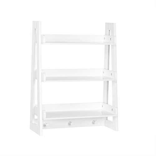RiverRidge Amery Collection Wall Shelf with Hooks, White