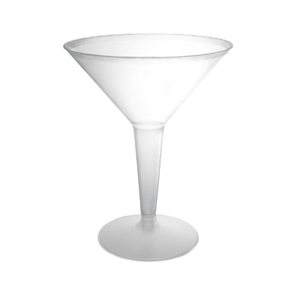 Party Essentials Hard Plastic 2-Piece Martini Glasses, 8-Ounce Capacity, For Martinis, Appetizers, Mash Potatoes, Veggies Dip Stations, Bar & More (Multi-color) 1 Disposable plastic martini glass for use with martinis, cocktails, and other cold beverages Two-piece design; stem is hollow to facilitate stacking, storing, and transporting the glasses prior to use Clear plastic for visibility of contents and to coordinate with most tableware or drinkware designs and most decorations