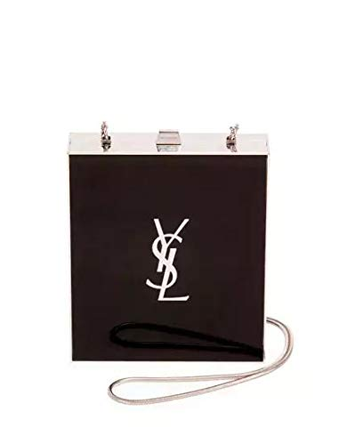 Saint Laurent Tuxedo Box Minaudiere, Black/Silver made in Italy