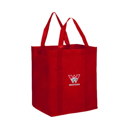 Western Non Woven Red Grocery Tote ' W Western ' B00J3YOTY2