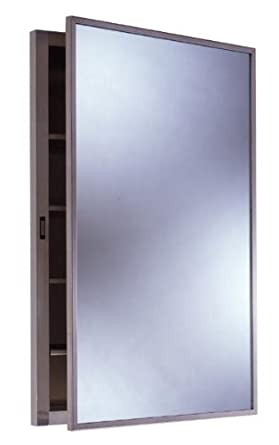 Amazon Com Bobrick 398 304 Stainless Steel Recessed Medicine Cabinet Satin Finish 14 7 8 Width X 26 7 8 Height 4 Shelves Industrial Scientific