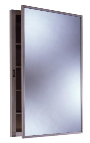 Bobrick 398 304 Stainless Steel Recessed Medicine Cabinet, Satin Finish, 14-7/8'' Width x 26-7/8'' Height, 4 Shelves