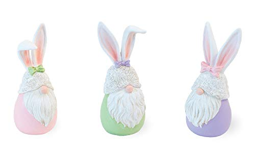 Boston International Bunny Gnomes Pastel 5 x 2 Resin Stone Easter Collectible Figurines Set of 3
