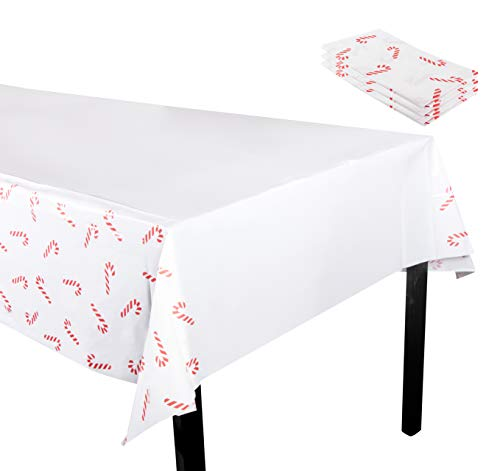 Juvale Christmas Plastic Tablecloth - 3-Pack 54 x 108-Inch Rectangular Disposable Table Cover, Perfect for Holiday Buffet Banquet or Long Picnic Tables, Festive Candy Cane Design, White, 4.5 x 9 Feet