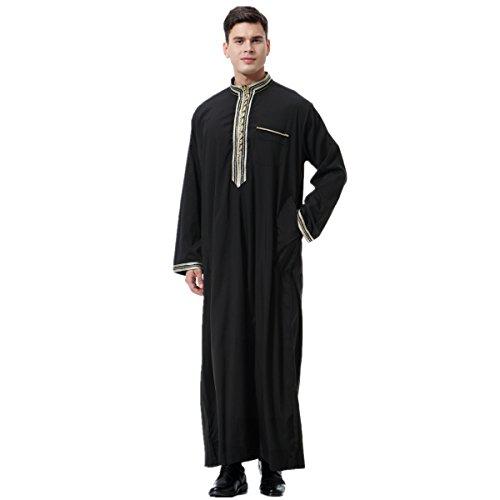 (XINFU Men's Long Sleeve Applique Stand Collar Robe Arab Muslim Ethnic Thobe)