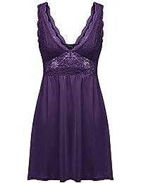 Women Lingerie Sexy Chemise Nightie Lace Babydoll V Neck Sleepwear Slip  Dress 5d1da98a3