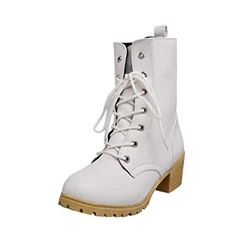Lolittas Winter Boots for Women Shoes, Horse Desert Mid Ankle Martin Steel Toe High Block Heel Platform Insoles Lace up Size 3-7 White