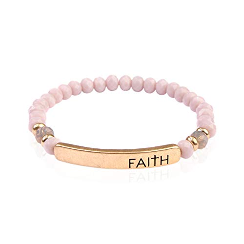 - RIAH FASHION Blessed, Amazing Grace Rondelle Beads Stretch Bracelet - Religious Engraved Message Bar Beaded Bracelets (Faith - Lavender)