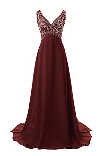 Musever V Neck Beaded Formal Evening Gowns Long High Low Prom Dresses Burgundy US 2 (Renta Gown Formal)