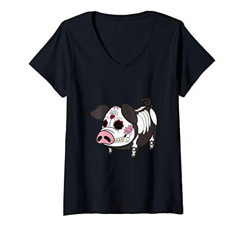 Womens Dia De Los Muertes Pig Farmer Halloween Mexican V-Neck T-Shirt -