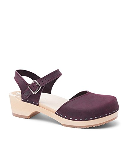 Sandgrens Swedish Wooden Low Heel Clog Sandals For Women | Saragasso In Plum by, Size US 9 EU 39