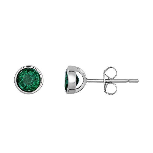 Sterling Silver Bezel Set Created Emerald Stud Earrings - 6 mm (Natural Silver)