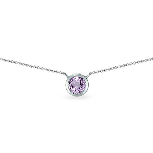 (Sterling Silver Amethyst 6mm Round Bezel-Set Dainty Choker Necklace)