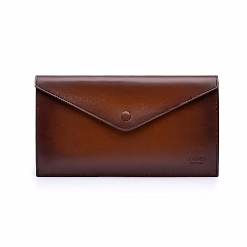 TERSE Mens Clutch Bag Genuine Leather Wallet Card Holder Messenger Bags(Tobacco) by TERSE