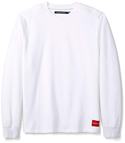 Calvin Klein Jeans Men's Long Sleeve Thermal Waffle Crew Neck Shirt, Brilliant White Small - Neck Thermal Mens Crew