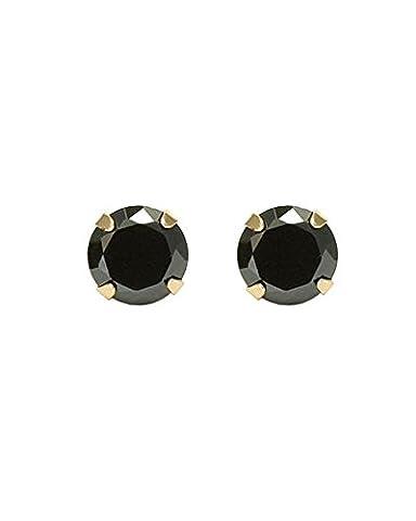 Black Round Cut CZ 14k Yellow Gold Basket Set Screw Back Stud Earrings 4mm