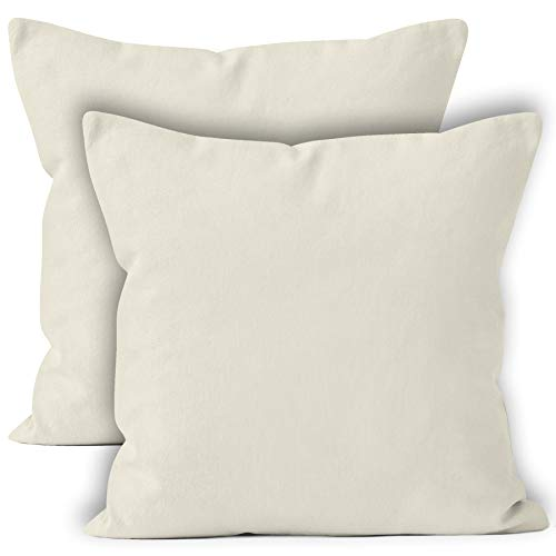 - Encasa Homes Throw Cushion Cover 2pc Set - Natural - 18 x 18 inch Solid Dyed Cotton Canvas Square Accent Decorative Pillow Case for Couch Sofa Chair Bed & Home