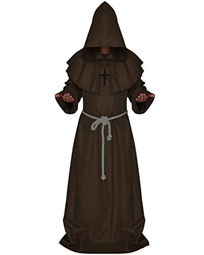 DniDesly Men's Medieval Halloween Hooded Knight Cosplay Costume Cool Robe Cloak Cape (XL, Coffee) for $<!--$31.99-->
