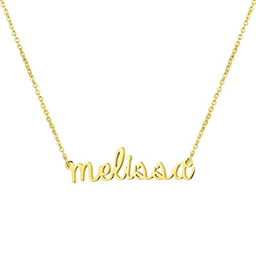 (Yiyang Graduation Gift for Girls Personalized Name Necklace 18K Gold Plated Stainless Steel Jewelry Birthday Necklaces for Women Melissa)