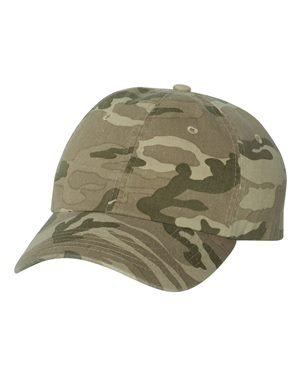 Valucap Adult Bio-Washed Unstructured Cap, Adjustable, Tan Camo