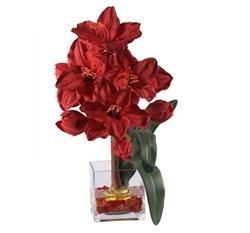 Liquid Illusion Arrangement (Red Amaryllis Liquid Illusion Silk Flower Arrangement)