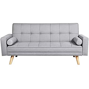 Yaheetech Modern Fabric Sofa Bed 3 Seater Click Clack Sofa Settee Recliner Couch with Wooden Legs for Living Room/Guest…