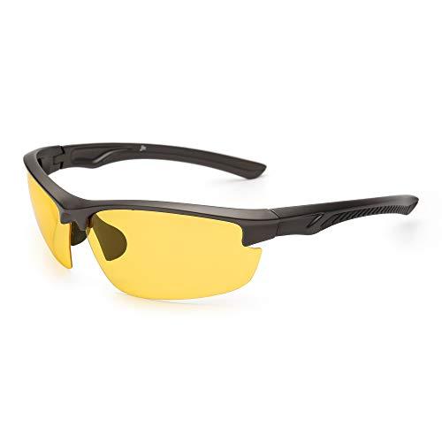 JM Night Driving Glasses Sport Polarized Anti Glare Night Vision Sunglasses Reduce Eye Strain Coffee