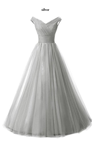 Line Shoulder Dress Formal Silver Chupeng Tulle Long Evening Gown Homecoming Off Prom 4B7dxxqw