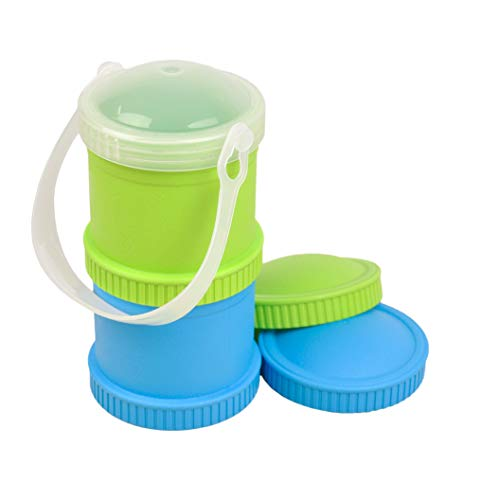 Re-Play Made in The USA 5 Piece Stackable Food and Snack Storage Containers Including Bonus Travel Lid for Babies, Toddlers and Kids of All Ages - Sky Blue/Lime Green