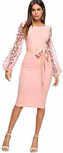 e63981fc SheIn Women's Elegant Mesh Contrast Bishop Sleeve Bodycon Pencil Dress