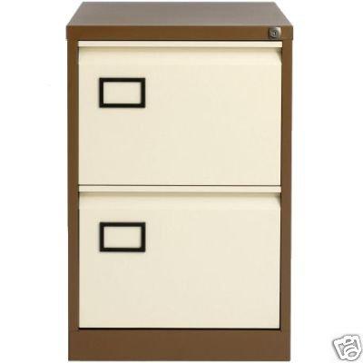 Bisley Aoc 2 Drawer Foolscap Filing Cabinet Coffee / Cream