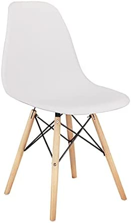 XYYSSM Living Room Chairs/Dining Chairs/Desk Chairs/Office Chairs/Leisure Chairs/Natural Beech Chairs with ABS Backrest, A Set of 4, White, for Kitchen, Dining, Bedroom, Living Room Side Chairs.