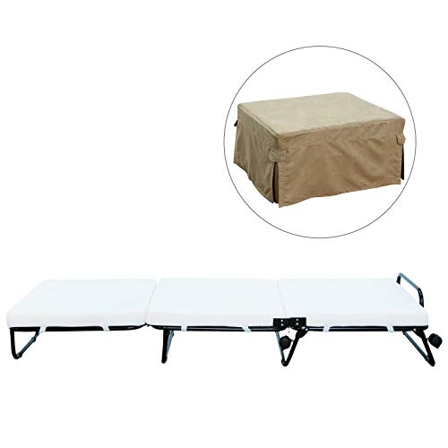 HOMCOM Twin Size Folding Convertible Sleeper Bed Ottoman With Beige Slip Cover ()