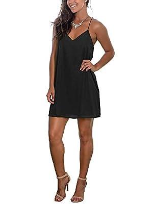 INFITTY Womens Summer Sexy V Neck Mini Dress Spaghetti Straps Short Dress Beach Sundresses