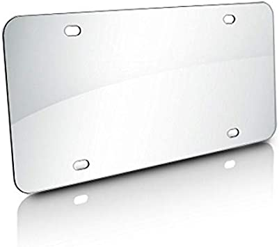 """Blank Stainless Steel License Plate 12/""""x6/"""", Chrome"""