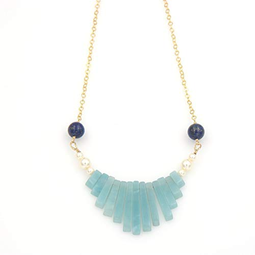 Amazonite Gemstone Stick Bib Pendant Necklace - Lapis Lazuli Gold Filled Swarovski Pearls 1 & 16-in