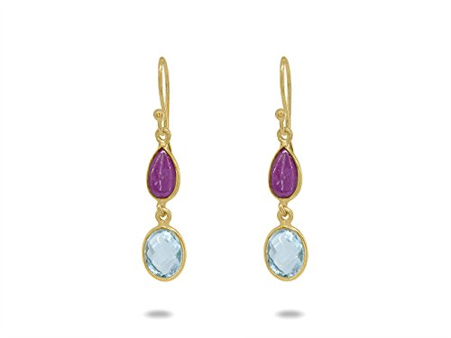 FRONAY 14k Gold Plated Silver Dangling Ruby, Blue Topaz Hook Earrings from Fronay Silver Collection