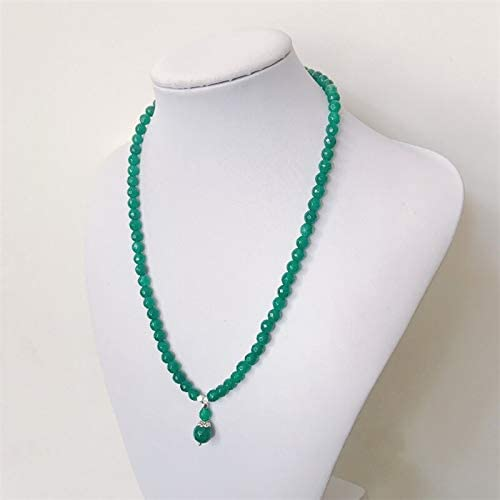 Natural Stone Jewelry Elegant Noble Green Yellow Blue Deep Red Ruby Bead Necklace with Pendant Charms for Women Girl Gift Custom Gem Color: Green, Length: 65CM Davitu Necklaces