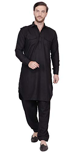 (SKAVIJ Men's Cotton Kurta Pajama Set Indian Pathani Dress (Medium, Black))