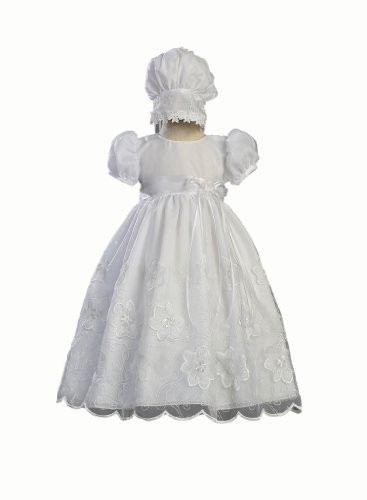 White Embroidered Organza Christening Baptism Gown with Matching Bonnet - Size XS (0-3 Month) by Swea Pea & Lilli