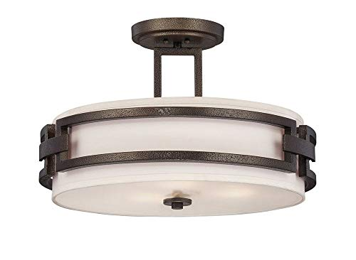 Designers Fountain 83811-FBZ Del Ray - Three Light Semi-Flush Mount, Flemish Bronze Finish with Ivory Fabric Shade