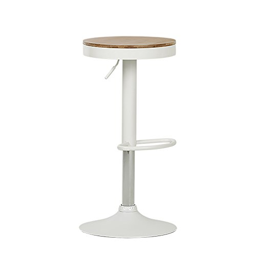 South Shore 100178 Crea White Adjustable Metal Stool with Wood Seat - Bamboo Kitchen Bar Stools
