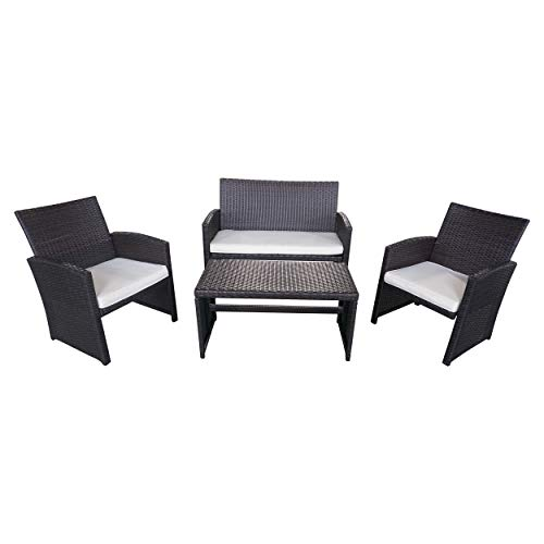 Great Deal Furniture 305820 | Patio Chat Set Outdoor Wicker | Seating for 4, Brown Review